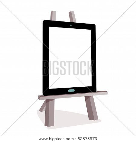 Tablet On The Wooden Easel