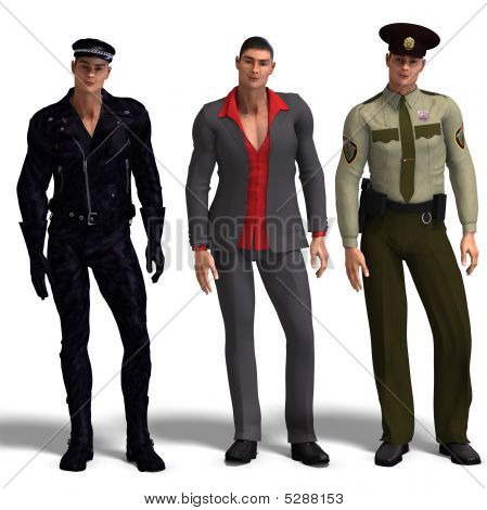 Three Different Outfits: Biker, Dressman, Policemen