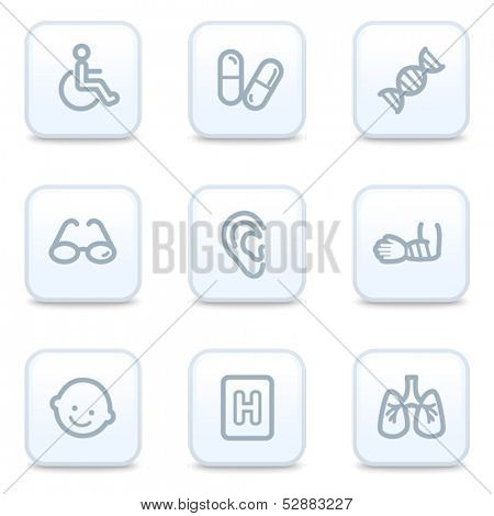 Medicine web icons, square buttons