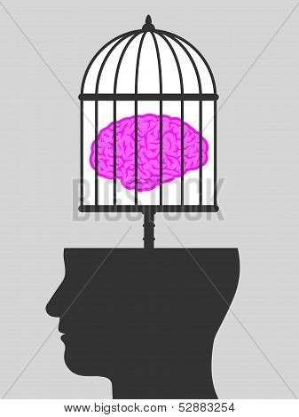 Caged brain with a male head