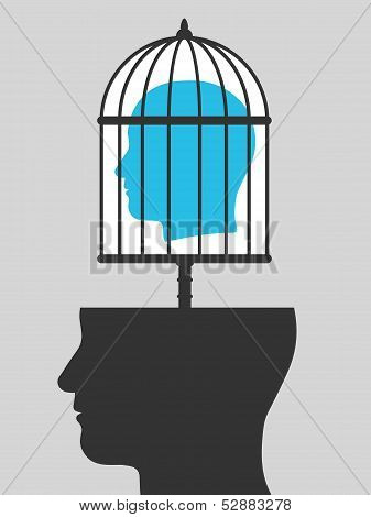 Caged mind above a head silhouette
