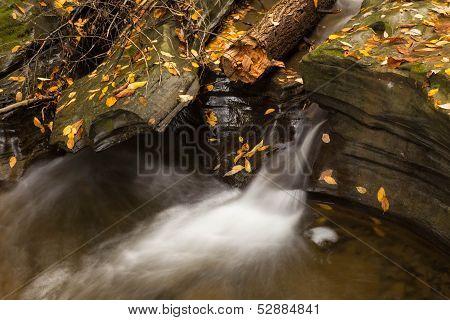 Beautiful Waterfall  Cascade And Fall Foliage