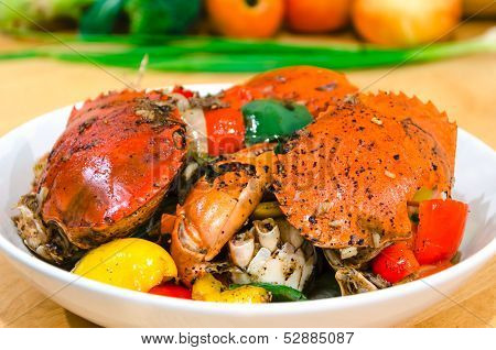 Asian Spicy Food Stir Fried Crab With Black Pepper Sauce
