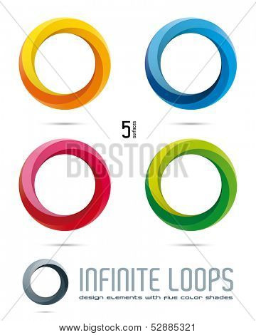 Impossible Infinite Loop Vector Design Elements with five surfaces and color shades. Easily editable with global color swatches.