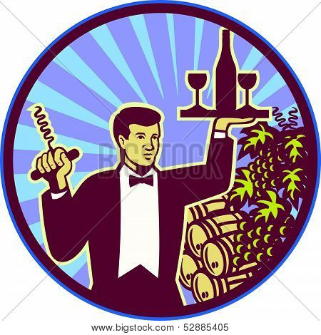 Waiter Serving Wine Glass Bottle Retro
