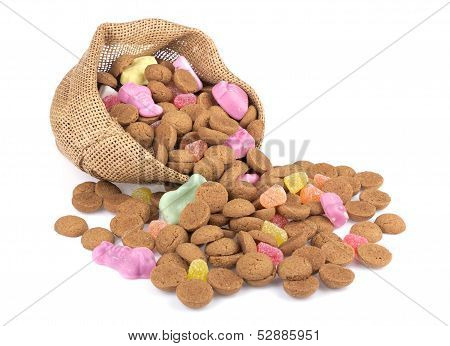 Jute Bag With Ginger Nuts And Sweets.