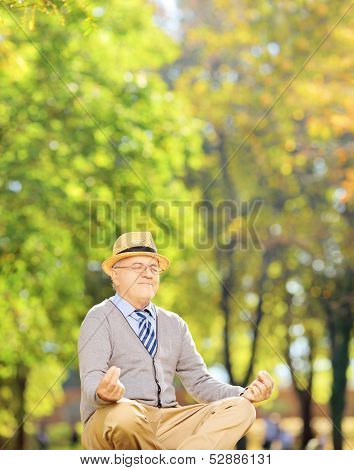 Senior gentleman meditating seated on a green grass in a park, shot with a tilt and shift lens
