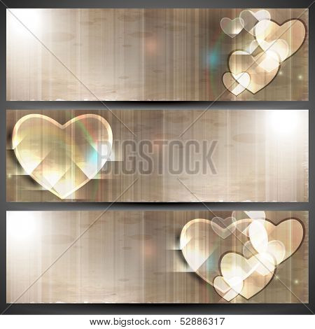 Website header or banner set, love concept with hearts.