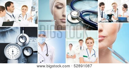 Collection of medical images with hospital workers, nurses and interns, equipment and plastic surgery