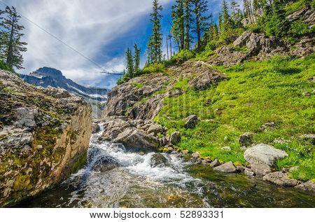 Beautiful Mountain River at the Bagley Lakes Trail at Mount Baker Park in Washington, USA