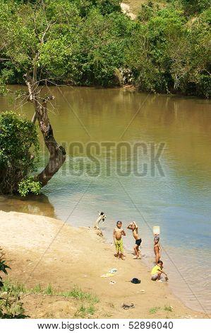 Children Bathe In The River