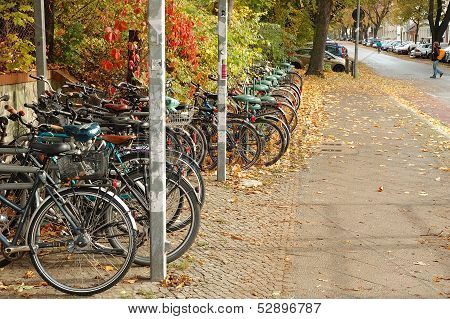 Bicycles Waiting Nearby Railway Station