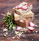 picture of sea oats  - Oatmeal soap  with roses - JPG
