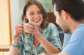 stock photo of canteen  - Two casual students having a cup of coffee in college canteen - JPG