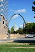 Downtown Saint Louis with view of the Arch and the Old Courthouse