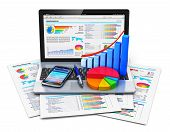 stock photo of graphs  - Mobile office work - JPG