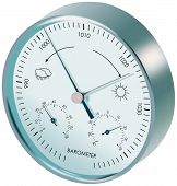 foto of barometer  - Metal analogue barometer with dials and symbols of weather - JPG