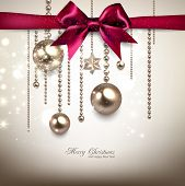 picture of shimmer  - Elegant Christmas background with red bow and golden garland - JPG