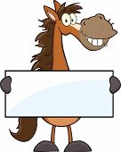 stock photo of buckskin  - Horse Cartoon Mascot Character Holding A Banner  Illustration Isolated on white - JPG