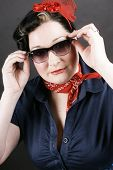image of rockabilly  - Lovely girl in rockabilly fashion posing sexy - JPG
