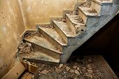 pic of basement  - Old concrete stairs leading to a dark basement - JPG