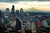 image of view from space needle  - Seattle Skyline View with Mount Ranier in background - JPG