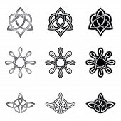 image of triquetra  - Collection of decorative Celtic patterns isolated on white background - JPG
