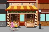 stock photo of french pastry  - A vector illustration of French bakery store - JPG
