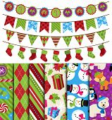 stock photo of christmas theme  - Vector Collection of Christmas and Winter Themed backgrounds and Bunting - JPG