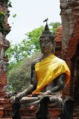 stock photo of gautama buddha  - an Ancient buddha at Ayutthaya in Thailand - JPG