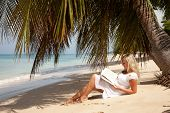 stock photo of palm-reading  - blond women reading under palm tree in Barbados - JPG