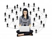 picture of lap  - Network or social media concept - JPG
