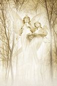 foto of cherubim  - Twin angelic female figures materialising in an atmospheric misty forest rendered in gentle green tones - JPG