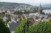 stock photo of moselle  - Panorama view to Bernkastel - JPG