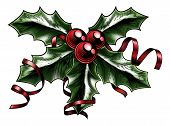 picture of lithographic  - A vintage Christmas holly sprig with ribbon and bow in a woodblock woodcut etching or lithograph print style - JPG