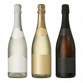 stock photo of sparkling wine  - Three merged photographs of different champagne or sparkling wine bottles with blank labels - JPG