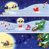 stock photo of sleigh ride  - Set of Christmas and New Year horizontal banners with flying reindeers on sky background with fir tree branches and presents - JPG