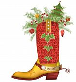 picture of stocking-foot  - cowboy boot with christmas decoration isolated on white - JPG