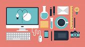 stock photo of mouse  - Flat design vector illustration icons set of modern office organization workspace for working designer with lots of items and elements - JPG