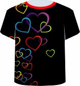 T Shirt Template- Colorful Hearts