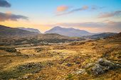 stock photo of ireland  - Killarney mountains at sunset in Ireland - JPG
