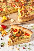 pic of chanterelle mushroom  - Delicious homemade pie with chanterelle mushrooms and vegetables - JPG