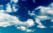 stock photo of stratus  - Blue sky with stratus clouds in spring day - JPG