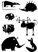 stock photo of opossum  - Vector original art animal silhouettes collection for design - JPG