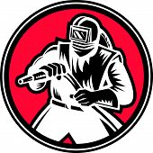 pic of sandblasting  - Illustration of a sandblaster worker holding sandblasting hose wearing helmet visor set inside circle shape done in retro woodcut style - JPG