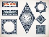 picture of watch  - Vector old baroque card set - JPG