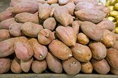 foto of batata  - Batata on a staple in food store - JPG