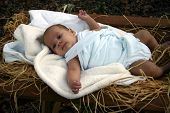 picture of manger  - baby in manger - JPG