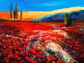 image of opium  - Original oil painting of Opium poppy - JPG