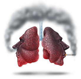 pic of gases  - Second hand smoke health care concept for cigarette smoking risks with human lungs in the shape of a head with one smoker and another innocent victim lung breathing the toxic fumes turning the organ black - JPG